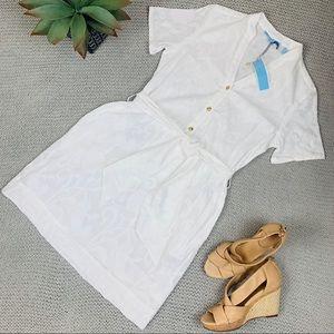 NWT Draper James wht burnout tie waist shirt dress